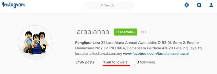 Akaun rasmi instagram Lara Alana anak Scha dan Awal