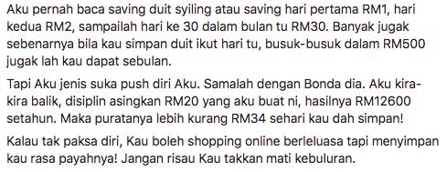 Ikuti Cara Seorang Wanita Simpan RM12600 Guna Duit RM20 Selama Setahun Untuk Anak